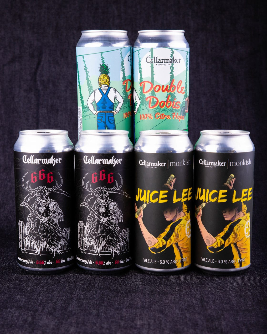 """Cans In Hands! """"666"""" IPA, """"Juice Lee"""" Pale Ale, & """"Double Dobis"""" DIPA ~ SOLD OUT"""
