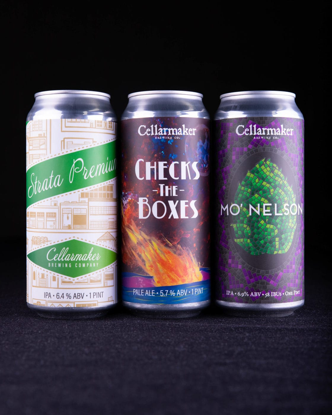 "Mo' Premium CANS ~ ""Mo' Nelson"" IPA, ""Strata Premium"" IPA & ""Check The Boxes"" Pale Ale ~ SOLD OUT"