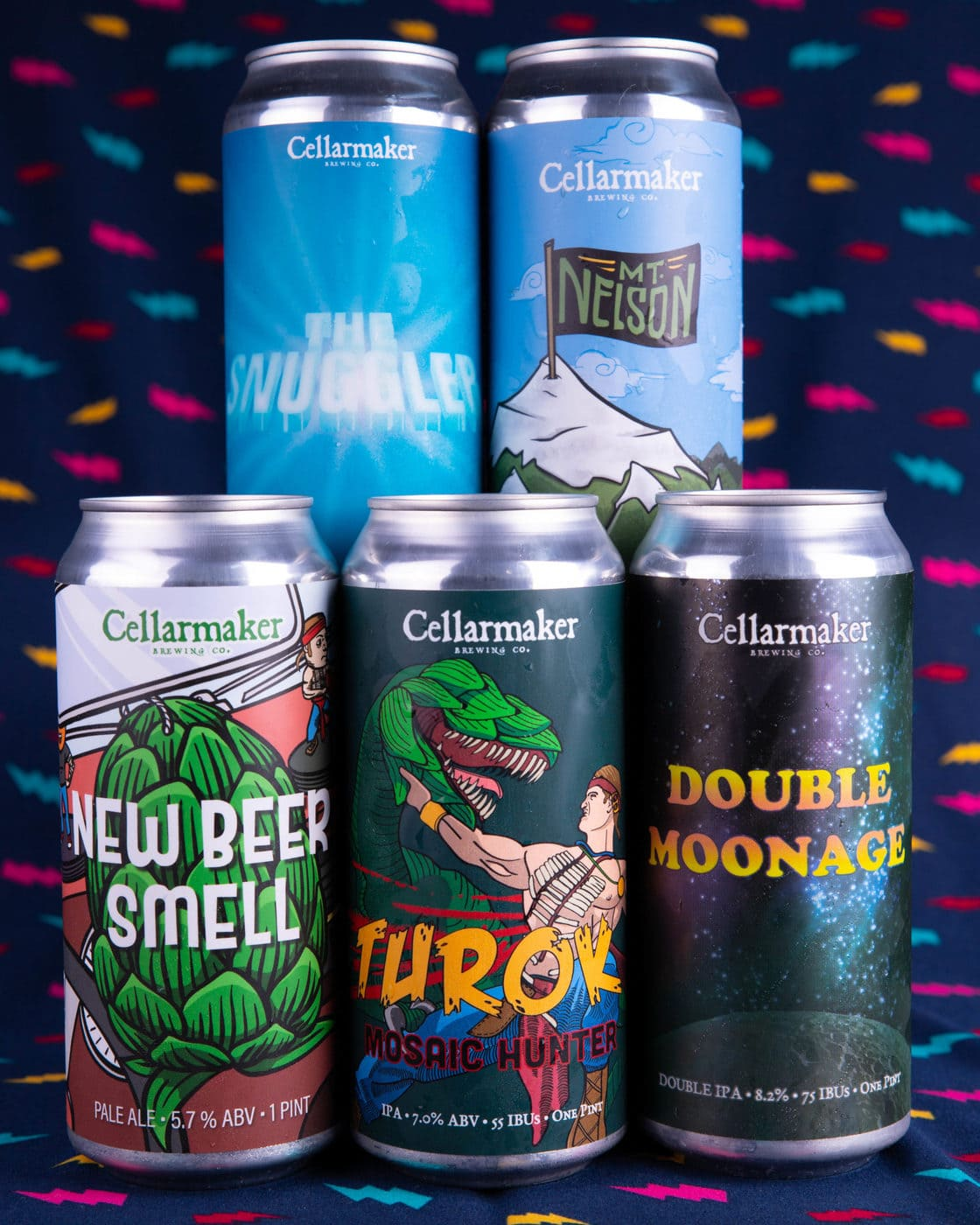 """""""DOUBLE MOONAGE"""" DIPA, """"NEW BEER SMELL"""" PALE, """"TUROK: MOSAIC HUNTER"""" IPA, """"DDH MT NELSON"""" PALE, & """"THE SNUGGLER"""" IPA ~ SOLD OUT"""