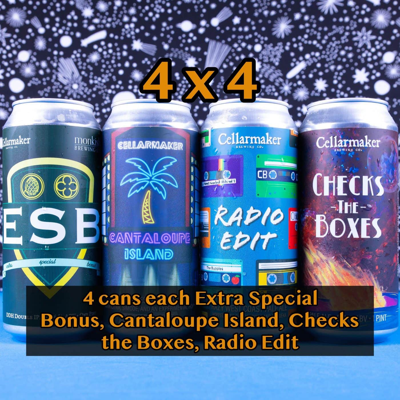 4X4 CASE 16 CANS – 4 Checks The Boxes Pale Ale, 4 Radio Edit Pale Ale, 4 Cantaloupe Island IPA And 4 Extra Special Bonus DDH DIPA… SHIPPING Out On WEDNESDAY 12/2 For NEXT DAY Delivery*