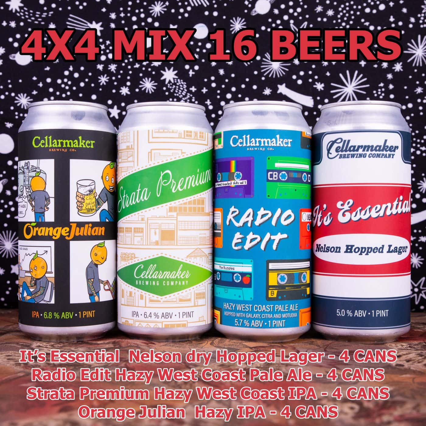 NEW 4×4 MIX 16 CANS – 4 Orange Julian IPA, 4 Strata Premium IPA, 4 Radio Edit Pale Ale And 4 It's Essential Nelson Hopped Lager ~ Shipping Out For Next Day Delivery On Tuesday 1/19*