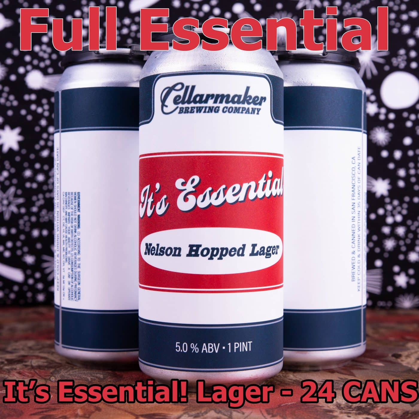FULL CASE 24 CANS It's Essential Nelson Hopped Lager ~ Shipping Out For Next Day Delivery On Tuesday 1/19*