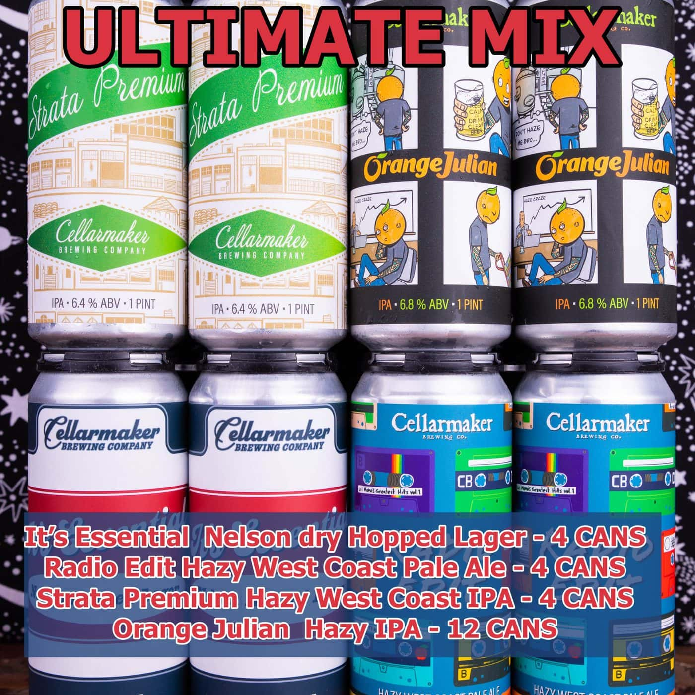FULL CASE 24 CANS – Ultimate Mix- 12 Orange Julian IPA, 4 Strata Premium IPA, 4 Radio Edit Pale Ale And 4 It's Essential Nelson Hopped Lager ~ Shipping Out For Next Day Delivery On Tuesday 1/19*