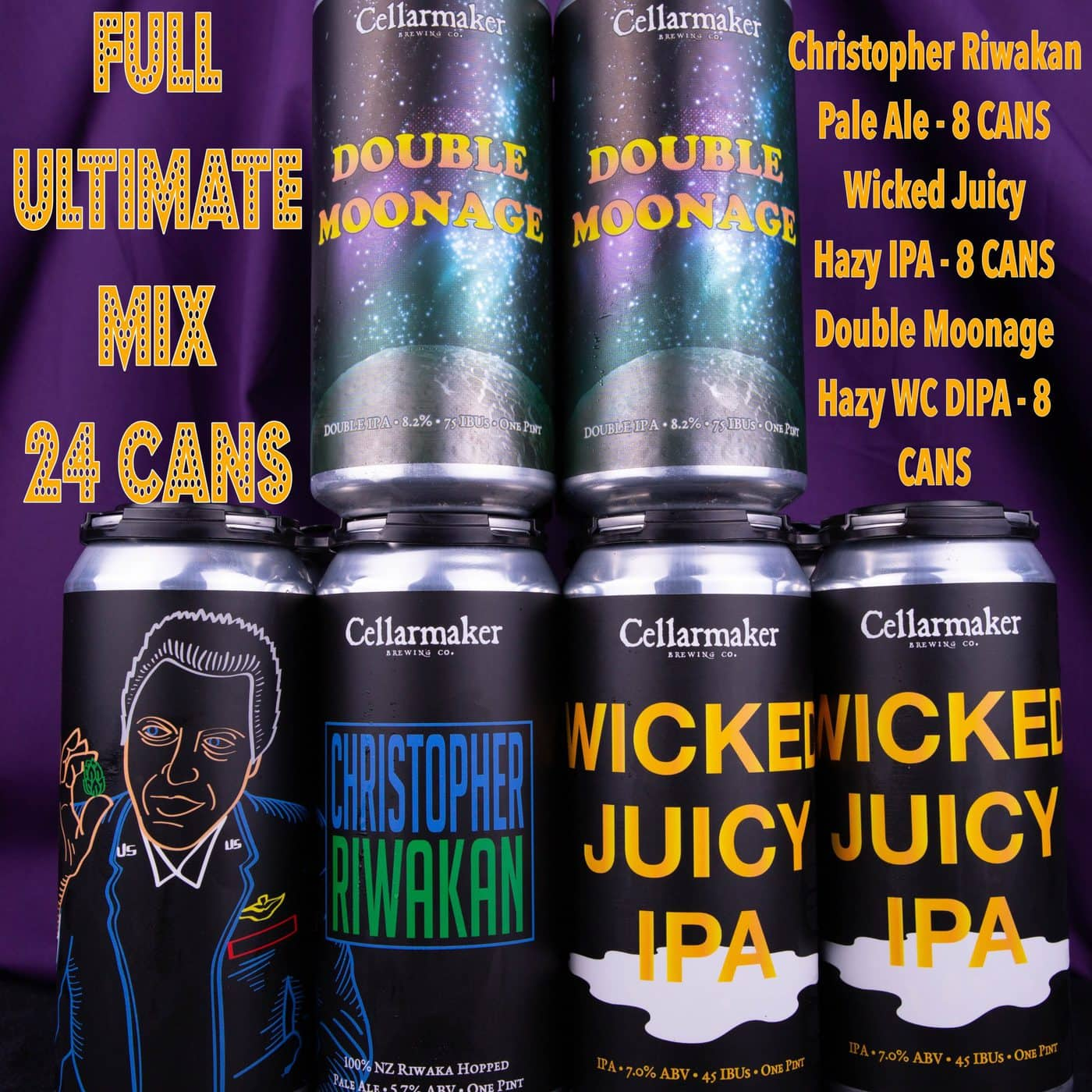 FULL CASE 24 CANS – Ultimate Mix- 8 Christopher Riwakan Pale Ale, 8 Wicked Juicy IPA And 8 Double Moonage DIPA … SHIPPING Out On TUESDAY 1/12 For NEXT DAY Delivery*