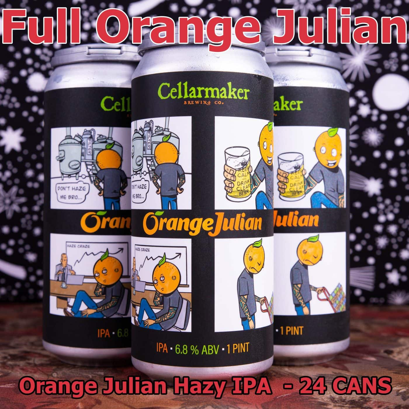 FULL CASE 24 CANS  Orange Julian IPA ~ Shipping Out For Next Day Delivery On Tuesday 1/19*
