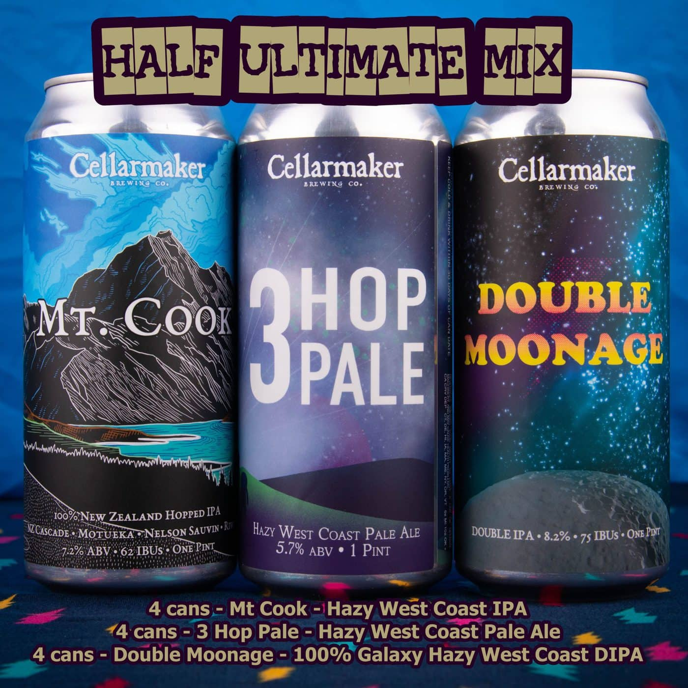 12 CANS – Half Ultimate Hoppy MIX – 4 Mt Cook IPA, 4 Three Hop Pale Ale And 4 Double Moonage Hazy DIPA – Shipping Out Tuesday 5/11 For Next Day Delivery*